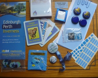 blue mixed media inspiration kit, ephemera kit, scrapbooking supplies