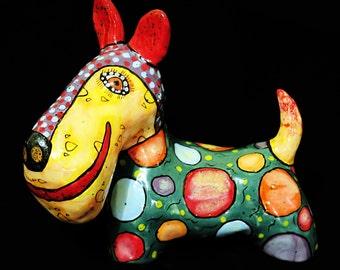 Dog art Ceramic Scotch terrier, dog figurines, terrier, schnauzer, ceramic figurine dog, dogs, statuette dog, sculpture dog, fox terrier