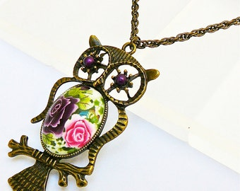 Pink Purple OWL necklace