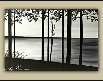 "Original Painting, Black and White trees Painting, Modern Large Wall Art  32""x48"" Ready to Hang"