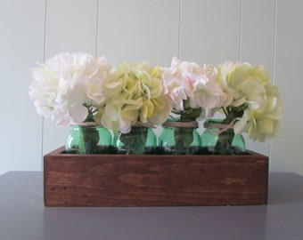 Reclaimed Wood Centerpiece with Green Mason Jars