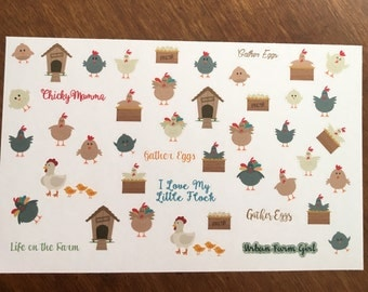Country Gals Chicken Coop Stickers ECLP Mambi Inkwell Press Filofax Kikki K Happy Life Planner chickens eggs farm roosters