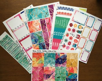 Jeweled Stained Glass Weekly Kit Mambi Happy Planner Stickers Check Lists Daily Boxes Washi Strips