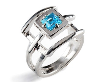 PAGODA Swiss Blue Topaz Ring, Sterling Silver Gemstone Ring, Japanese Geometric Ring, Unique Silver Ring, December Birthstone Ring