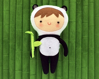 Felt Little Panda, Cute, Felt craft, Bamboo, Handmade