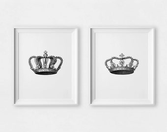 King and Queen Wall Decor, King and Queen Crown, Couples Gift, King and Queen Print, King and Queen Crowns, Wall Art Set