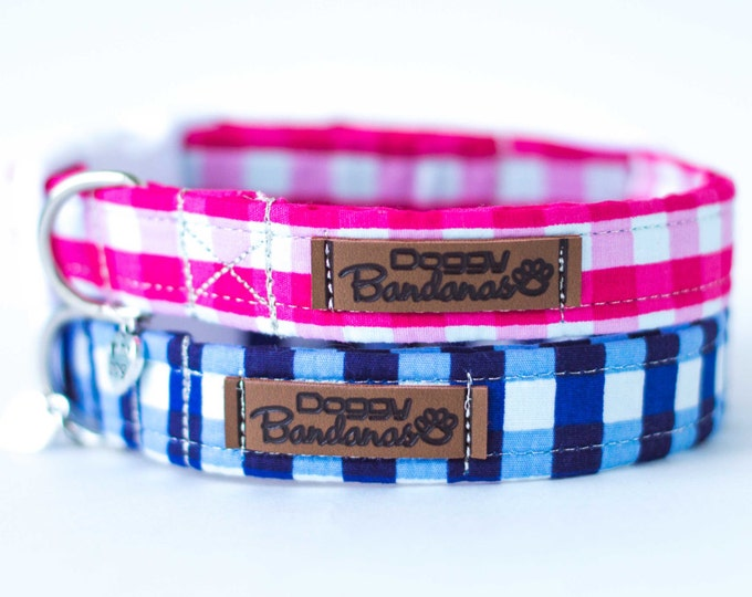 Plaid Dog Collar Boy Girl Dog Collar Preppy Designer Dog Collar Pretty Blue Dog Collar Modern Fabric Dog Collar Tartan Pink Dog Collar Puppy