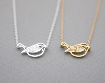 Little Sparrow Necklace / bird necklace in gold /silver