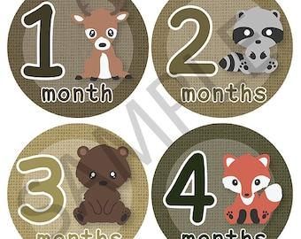 Woodland Creatures Animals Onesie Stickers Download Printable 1 - 12 months