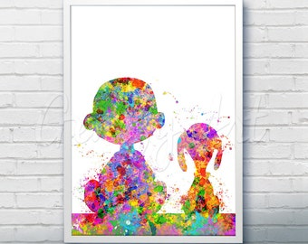 Snoopy Charlie Brown Peanuts Watercolor Art Poster Print - Wall Decor - Watercolor Painting - Watercolor Art - Kids Decor- Nursery Decor