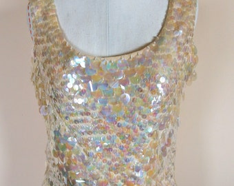 Vintage 1960s go-go Top  Iridescent Sequin and Beads