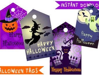 Halloween Tags, Halloween Digital Party Supplies, 4 Designs Tags image Happy Halloween Thanks tag Happy Halloween Party Halloween Printable