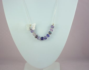 Sterling silver necklace and fluorite