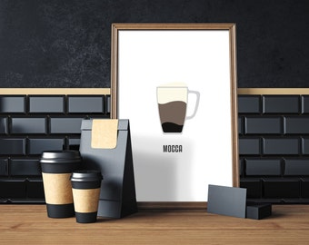 Coffee Mocca, digital print, coffee art, coffee print, coffee wall art, coffee prints, coffee poster,  coffee decor, compassionprints
