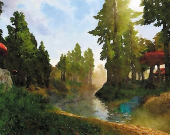 Morrowind , Game art poster, Skyrim ,elder scrolls Watercolor poster, Video game art, Video game poster