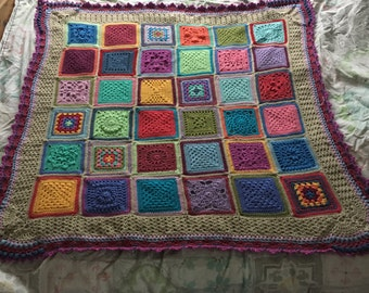 Vintage colourful crochet blanket/Baby blanket/cot blanket