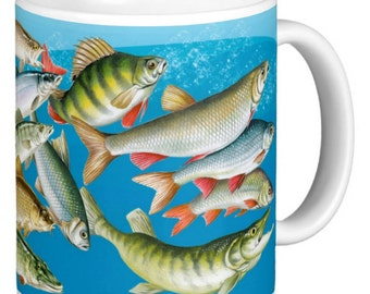 Fish, Fisher Man Mug, River Fishing Mug, coarse fishing Fish, Selection of coarse fish, Gift Mug