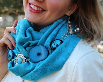 Scarf Necklace / Infinity Scarf / Jewelry Scarf / Beaded Scarf / Fabric Jewelry / Luxe Necklace / Handmade Scarf / Women gifts /FREEShipping