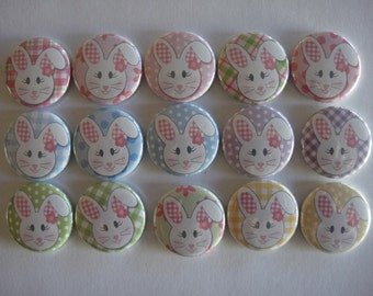 Floppy Eared Bunny Buttons Set of 15