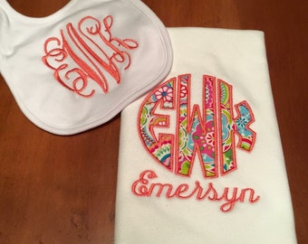 Baby Girl Bib and Burp Cloth Set