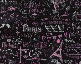 Timeless Treasures Paris Chalkboard Fabric Black and Pink paris black pink cotton fabric timeless Treasures paris pink fabric