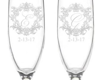 Royal Frame Engraved Wedding Toasting Flutes (PPD2021)