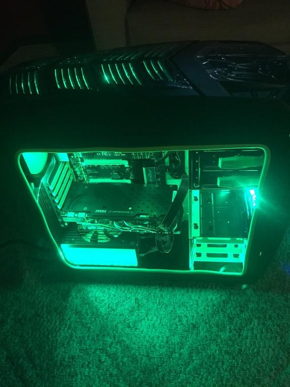 Custom LED Green Black Gaming PC Tower Desktop Color Changing Computer