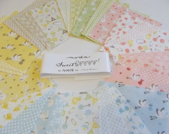 """Moda Baby 5"""" Charm Pack of 42 squares -100% FLANNEL"""