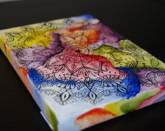 Mandala,Rainbow,Acrylic,ink pen,gift,yoga,small size,5x7,on canvas painting,original