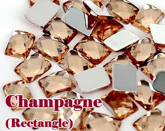 Champagne (6mm x 8mm) Rectangle Acrylic Faceted Flat Back Rhinestones Shaped Cabochon Deco Scrapbooking Nail Art Craft (WHOLESALE)