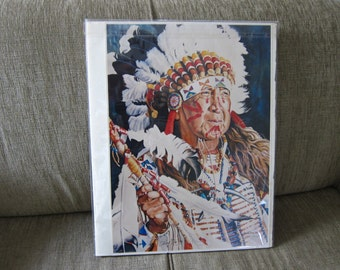 Numbered Print of Indian Chief Depoe 14x20 Watercolor Painting Susan Shea 1992  6/250 Unframed Signed by Indian Chief Depoe Bay Oregon