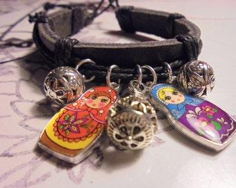 Adjustable Leather Charm Bracelet