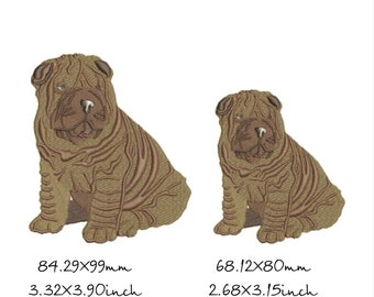Shar Pei Dog Embroidery Designs in 2 sizes, Instant Download
