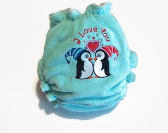 Love is in the air - embroidered bamboo cloth diaper