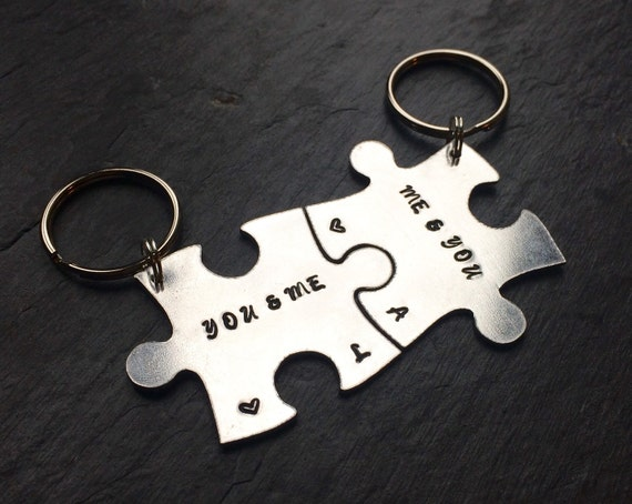 Personalised jigsaw keyrings, his and hers keyrings, mr and mrs gift, hand stamped, mr and mrs keyrings, couples keyring, valentines keyring