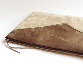 Zippered Brown Clutch Bag Vegan Suede Leather Purse Wristlet Personalized Custom Color