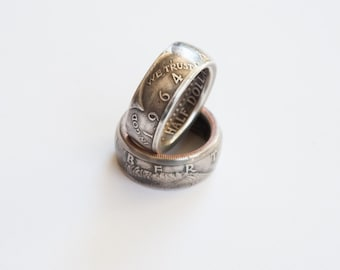 Silver 1964 Kennedy Half Dollar Coin Ring