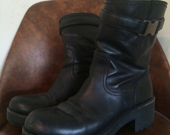 PRADA black leather moto boots womens sz 7.5
