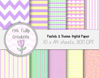 A4 Clip Art Backgrounds- Pastel #2 x 10