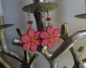 Red flower earrings!