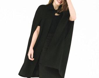Black wool cape woman black cape