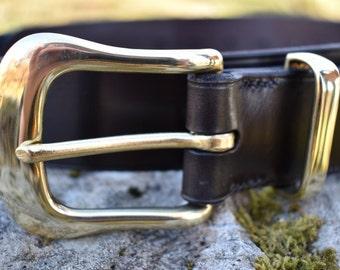 "Smirisary Leather Belt 1.5"" wide,  Wide leather belt, Hand Stitched belt, brown leather belt, mens leather belt, Brass belt buckle"