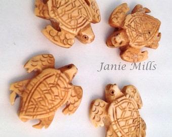 Bone Turtle Carved Bead