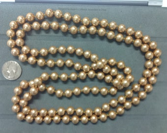 10 Pieces ( 60 inch endless 10mm glass champagne pearl necklace)