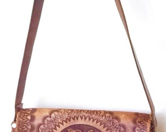 60's Tooled Tan Leather Bag