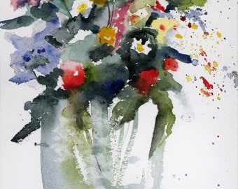 Flowers For you - Watercolor card