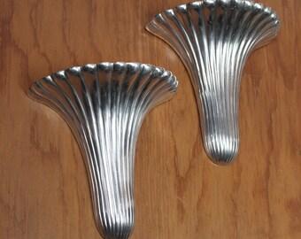 Pair of Chrome Metal Cast Decorative Sconces