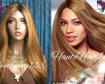 Auburn Blonde Human Hair Blend Straight Realistic Long Lace front Wig