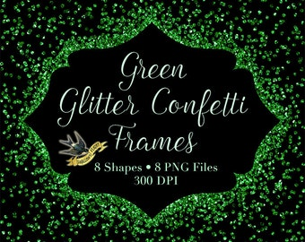 Green Glitter Confetti Frames - Digital Instant Download - 8 Sparkly Green Clipart Frames - PNG Overlay Clip Art Frames Borders Christmas