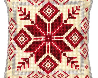 "Geometric Nordic Snowflake Cushion Cover 16"" x 16"" Cross Stitch Kit"